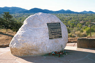 The internment camp historical marker sits above the Casa Solana subdivision west of downtown Santa Fe.